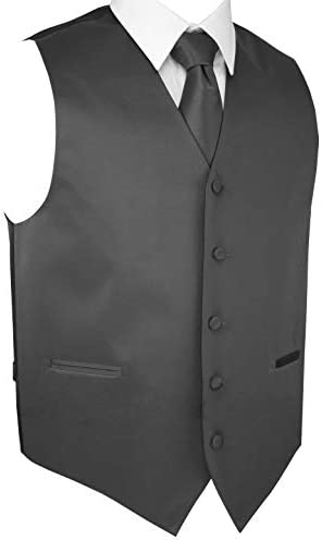 Men`s Formal Tuxedo Vest Tie & Pocket Square Set in Charcoal