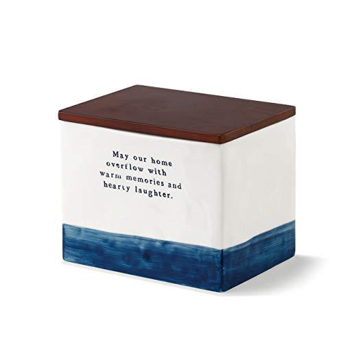 Collection 5 Tin Gift Box - DEMDACO May Our Home Blue Stripe 7 x 5 Ceramic Stoneware Wood Decorative Recipe Box