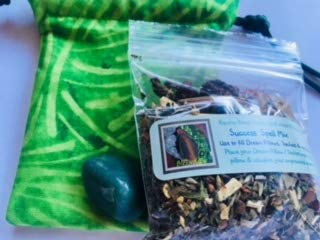 - Charm Bag kit for You to Make~ Success ~ Wicca ~ Dried Herbs ~ High John Root ~ Tumbled Stone ~ Ravenz Roost Handmade Bag
