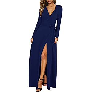 KILIG Women's Dress Sexy Deep V-Neck Long Sleeve Split Long Maxi Dresses for Party Casual Wrap Dress with Belt