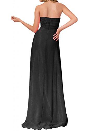 de Sweetheart Para novia Forma Largo Vestidos noche Vestidos Corazón Mujer gasa fiesta negro Moda novia Toskana pBRqHwq