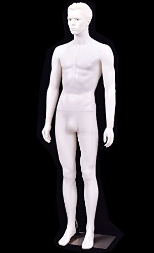 K&A Company 6 FT White Male Mannequin Manikin with Metal Stand New 36.6'' x 27.2'' x 36.6'' Aluminum Stent by K&A Company