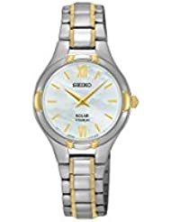 Seiko Solar Mother Of Pearl Dial Titanium Women's Watch SUP280
