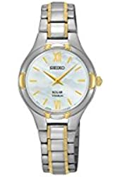 Seiko Solar Mother Of Pearl Dial Titanium Women's Watch SUP280