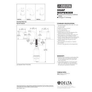 Delta Faucet 72065T-BL Trinsic Contemporary Touch Soap Dispenser - Integrated, Matte Black