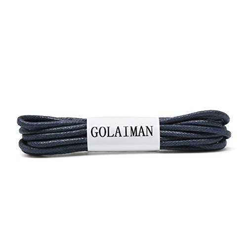GOLAIMAN Waxed Dress Shoe Laces - Round Oxfords Shoelaces Leather Shoe Lace For Men Women - 28inch Navy
