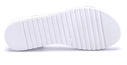 Schuhtempel24 Damen Schuhe Keilsandaletten Sandalen Sandaletten Keilabsatz Blumenapplikation/Ziersteine 4 cm Silber