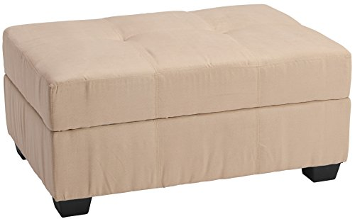 "Epic Furnishings Microfiber Suede Upholstered Tufted Padded Hinged Storage Ottoman Bench, 36 by 24 by 18"", Khaki"