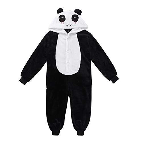 dPois Kids Boys Girls' Flannel Panda/Reindeer Fancy Pajamas Sleepwear Winter Warm Animal Hooded Jumpsuits Black&White 7-8