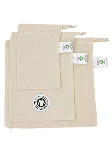 100% Certified ORGANIC Cotton Nut Milk Bags Set of 3 - 12