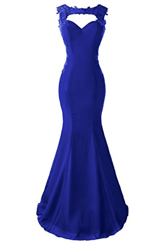 Length Blue Color (Topdress Women's Mermaid Prom Dress Lace Appliques Sheer Back Evening Gowns Royal Blue US 14)
