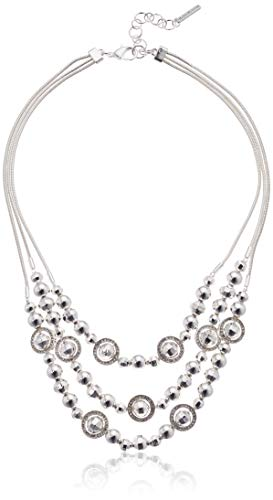 Nine West Women's Silver 3 Row Frontal Necklace, Size: 0 (3 Row Necklace)