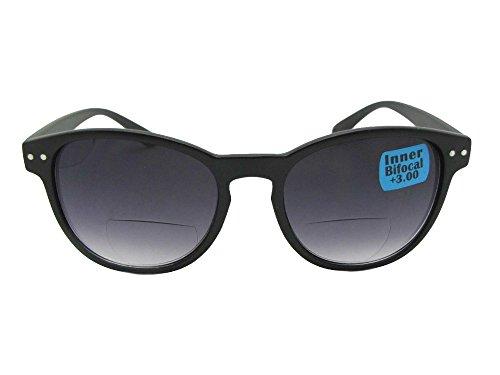 Round Retro Bifocal Sunglasses Style B104 Sunglass Rage (Flat Black Frame-Gray Lenses, - Not Sunglasses Bifocal Magnifying