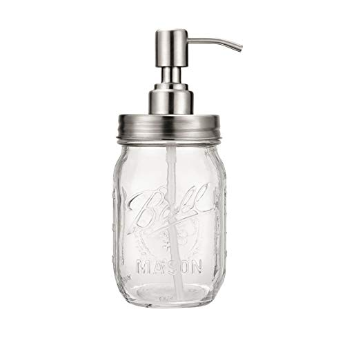 - Leopardprintfans Rust Proof Mason Jar Lotion Soap Dispenser Lid-Clear Glass,304 Stainless Steel,16 Ounce