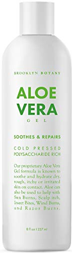 - Brooklyn Botany - Aloe Vera Gel - New and Improved Gel Formula - Soothes and Hydrates Dry, Itchy, or Irritated Skin; Great for Skin Blemishes, Flaky Scalp, Sunburn, Rashes - 8 oz