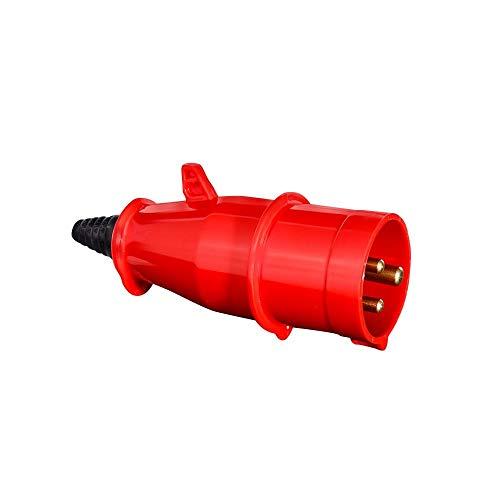 Plugue Newkon 2p+t 16a 380/440v 9h Ip44 Steck Vermelho 2p+t 16a