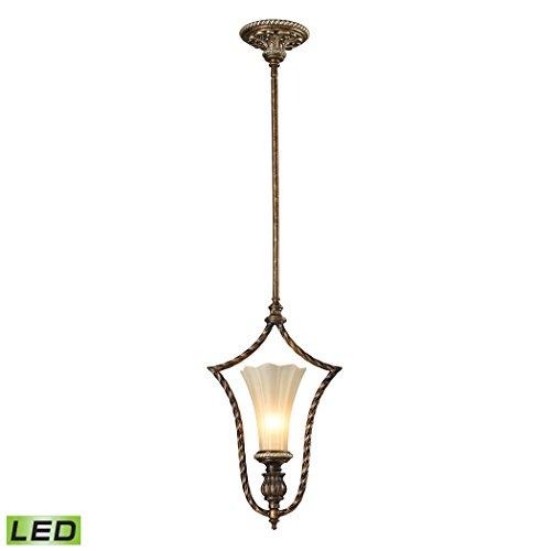 Alumbrada Collection Allesandria 1 Light LED Pendant In Burnt Bronze And Weathered Gold Leaf (Leaf Burnt Sconce Gold)