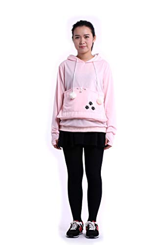 SAIANKE Womens Hoodies Pet Holder Cat Dog Kangaroo Pouch Carriers Pullover - X-Large - Pink]()