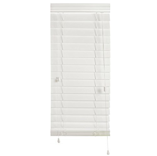 "Luxr Blinds Custom-Made 2 ½"" Slats Faux Wood Horizontal Routless Privacy Blinds with Easy Mount Valences- Compatible to Room Darkening Blackout Window Shades- White, 58''x60'' by Luxr Blinds"