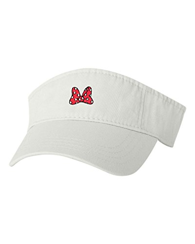 - Adjustable White Adult Red Bow with Polka Dots Embroidered Visor Dad Hat