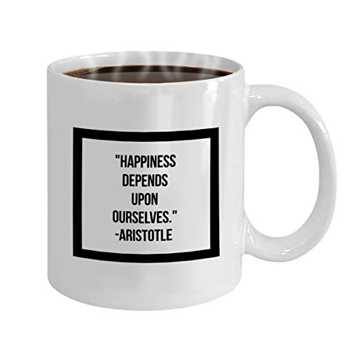 Funny Gifts for Halloween Party Gift Coffee Mug Tea happiness depends ourselves inspirational quote mot -