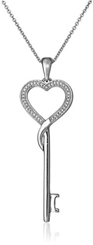 Sterling Silver Diamond Heart Key Pendant Necklace (1/10 cttw), 18