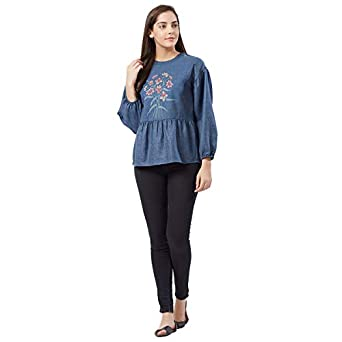 Fusion Beats Women Blue Embroidery Polyester Top