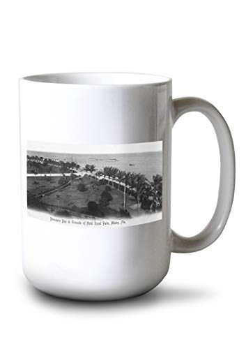 Lantern Press Miami, Florida - Royal Palm Hotel Grounds and Biscayne Bay View (15oz White Ceramic Mug)