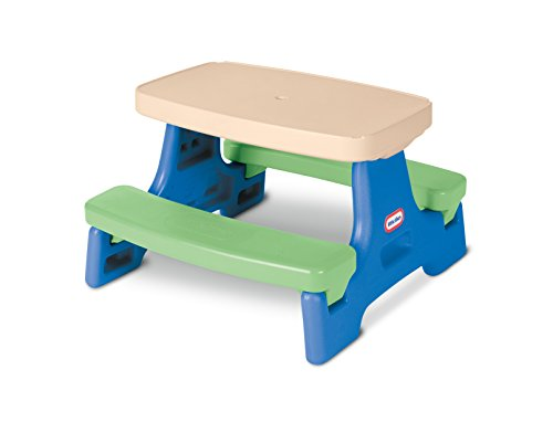 31TbYF58SYL - Little Tikes Easy Store Junior Picnic Table with Umbrella, Blue/Green