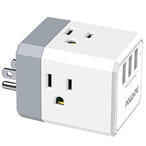 Multi Plug Outlet, Outlet expanders, POWSAV USB Wall Charger with 3 USB Ports(Smart 3.0A Total) and 3-Outlet Extender…