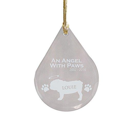 GiftsForYouNow Engraved Bulldog Dog Memorial Tear Drop Ornament, 3 3/4
