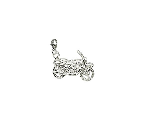(14k White Gold Motorcycle Charm With Lobster Claw Clasp, Charms for Bracelets and Necklaces)
