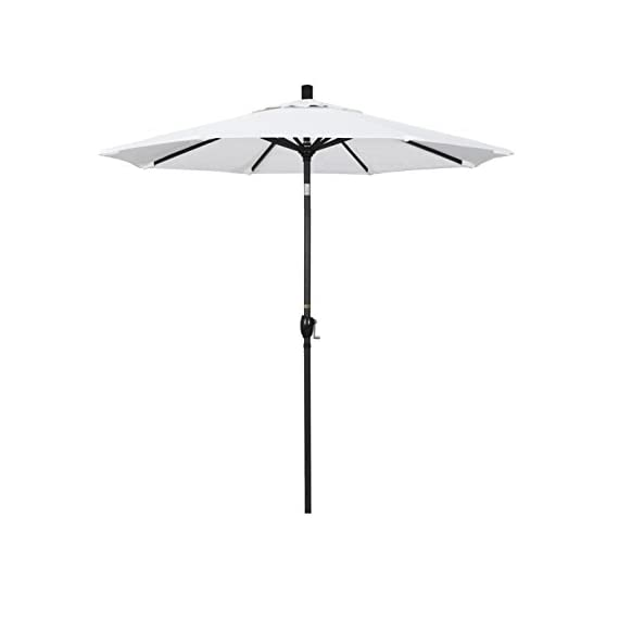 """California Umbrella 7.5' Round Aluminum Market Umbrella, Crank Lift, Push Button Tilt, Black Pole, White Olefin - Overall dimensions (l x w x h): 90"""" x 90"""" x 102"""" Push Button Tilt blocks out the sun from any angle; Frame is constructed of rust free aluminum Vibrant, Solution Dyed Fabric allows the canopy to stand up to the elements - shades-parasols, patio-furniture, patio - 31Tbae6RLyL. SS570  -"""