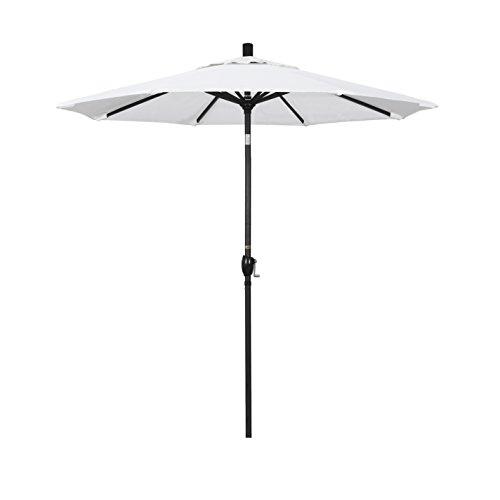 31Tbae6RLyL - California Umbrella 7.5' Round Aluminum Market Umbrella, Crank Lift, Push Button Tilt, Black Pole, White Olefin