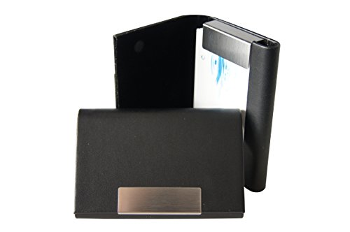 Visitenkartenetui schwarz K.DESIGNS - aus hochwertigem Kunstleder , gebürstetem Edelstahl , Magnetverschluss , Visitenkartenhalter , Visitenkartenbox