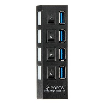 [4 Port USB 3.0 Hub On/Off Switches + AC Power Adapter Cable for PC Laptop Color : Black] (Wigs Au)