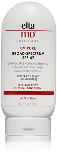EltaMD UV Pure Sunscreen Broad-Spectrum SPF 47, Water-Resistant, Oil-free, 4.0 oz