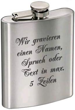 Flachmann aus Edelstahl mit kostenloser Gravur | Individuelles Geschenk zum Geburtstag, Hochzeit oder Junggesellenabschied