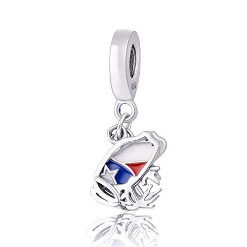 Choruslove Puerto Rico Dangle Charm 925 Sterling Silver Love Travel Charms Red Blue White Enamel Fits Bracelets Necklace