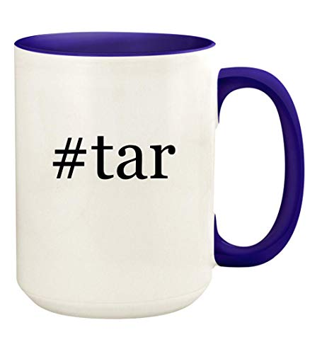 #tar - 15oz Hashtag Ceramic Colored Handle and Inside Coffee Mug Cup, Deep Purple ()