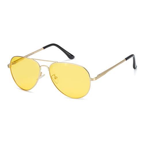 Myiaur Night Driving Glasses, HD Vision Yellow Glasses, for Fashion Men & Women - Polarized Lens Anti Glare (gold frame yellow night driving ()