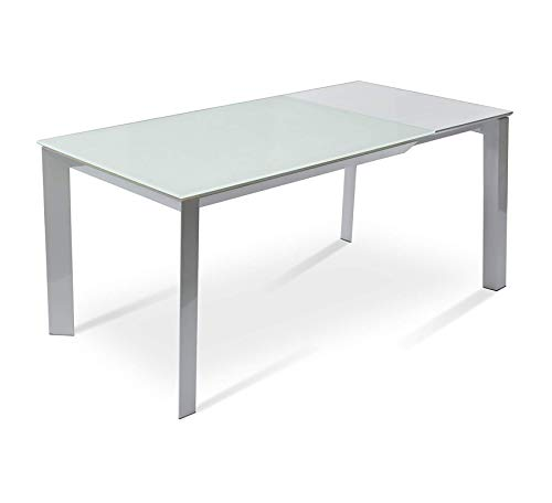 Wood & Style Furniture Milano Extendable Table with with White Powder Coating Base, Frosted Glass, Home Office Commerial Heavy Duty Strong Décor