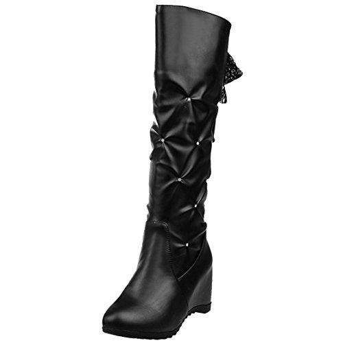 AIYOUMEI Damen Keilabsatz Kniehohe Stiefel mit Strass und Spitzenbänder Bequem Keilstiefel Schwarz