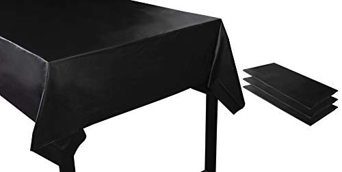 Juvale Black Plastic Tablecloth - 3-Pack 54 x 108-Inch Rectangle Black Disposable Graduation Table Cover, Fits up to 8-Foot Tables, Grad Party Decoration Supplies, 4.5 x 9 Feet]()