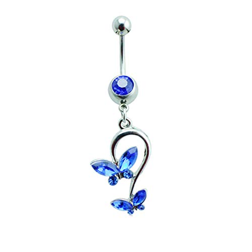 - Flamingogogo Belly Button Rings 316l Stainless Steel Barbell Dangle Rhinestone Double Butterfly Navel Piercing Jewelry,Blue