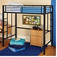 Twin Loft Bed Kids Child Frame Bunk Guardrails Ladder Safety Bedroom Furniture Boys Girls Black