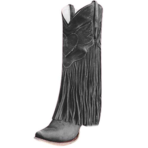 Western Knight Boots Women's Flats Tassel Pointed Toe Low-heeled Shoes