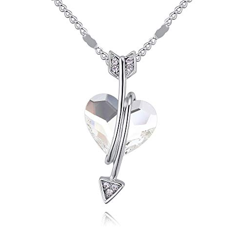 Crystal Diamond Accent Heart Shaped Arrow Pendant Chain Necklace for Women Teenage Girls Kids Children, with A Gift Box, Made with Swarovski Crystal, Ideal Gift for Birthdays/Christmas / Wedding (Element Arrow)