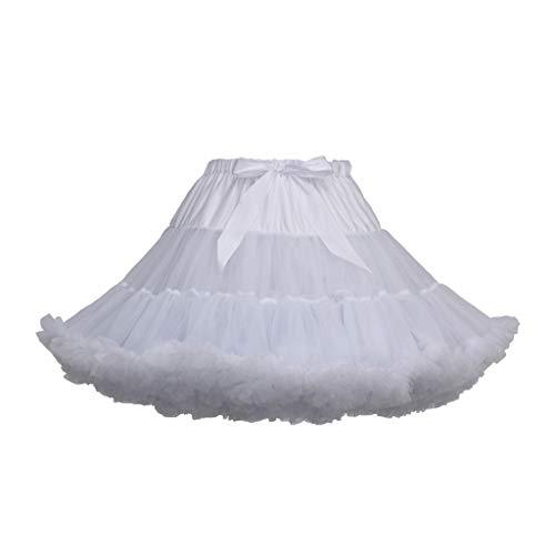 POQOQ Tulle Midi Skirt Women's Elastic Waist Ballet Layered Princess Mesh Free Size R -
