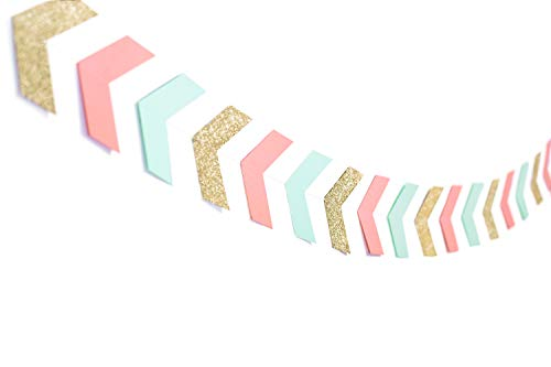 13 Feet Arrow Banner Tribal Party Supplies Wild One Mint Coral Garland Decorations Baby Nursery Banner Decor Tribal Banner Mint Birthday Decorations 42 Pieces (Coral Mint Glitter Gold)